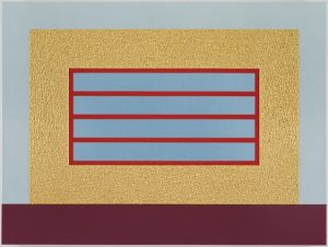 gold horizontal prison by peter halley